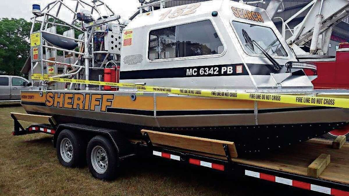 The new-at-the-time Huron County Airboat and its trailer were on display for the public during the 2016 Cheeseburger Festival in Caseville.