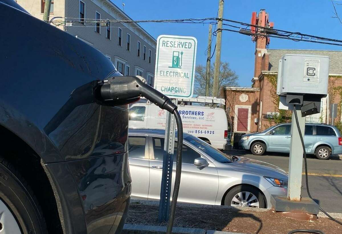 New Canaan has one municipal charger for electric vehicles located in Morse Court parking lot. Soon the town may be getting more installed. Picture was taken April 2021.