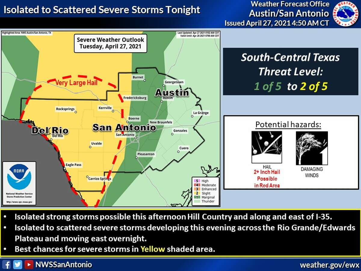 San Antonio is at a marginal risk for severe weather on Tuesday.
