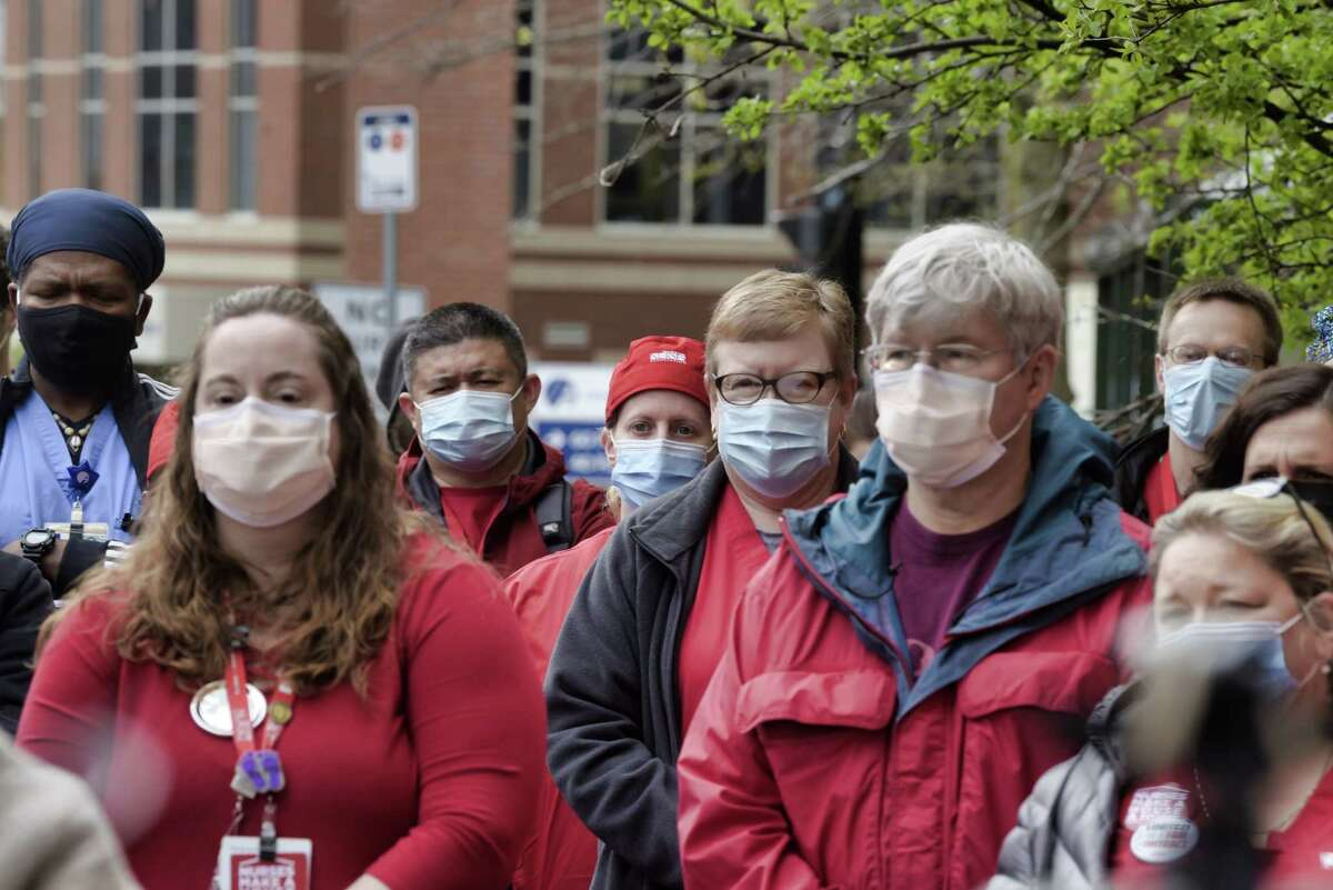 Nurses from Albany Med, who are members of the the New York State Nurses Association, hold a press conference outside the medical center on Tuesday, April 27, 2021, in Albany, N.Y. Nurses held the press event to express their concerns about what they say are poor staffing levels at the hospital. (Paul Buckowski/Times Union)