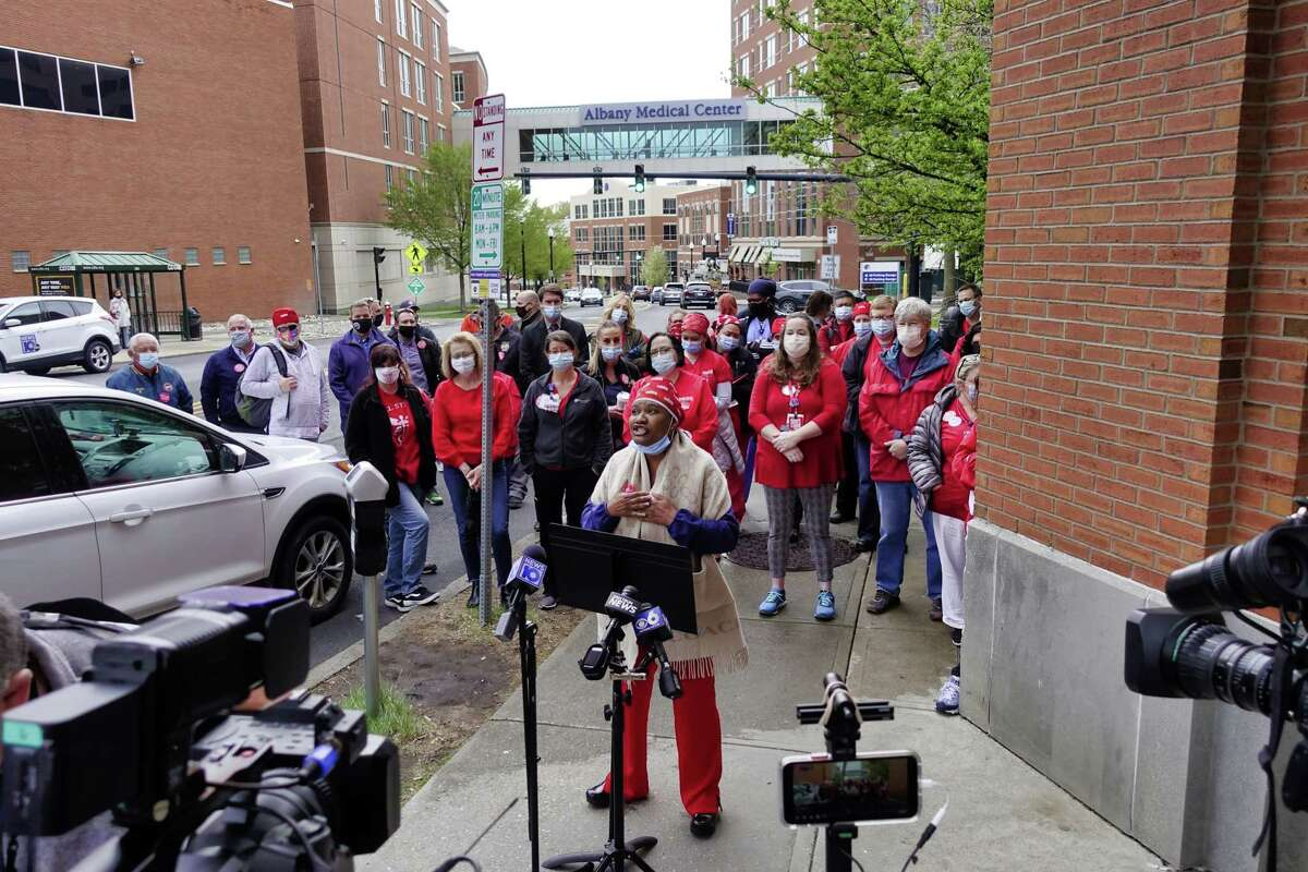 Tonia Bazel, a Albany Med R.N., on the infectious disease unit, talks about her worries and frustrations about what she and other nurses say are poor staffing levels at the hospital. Nurses from Albany Med, who are members of the the New York State Nurses Association, held a press conference outside the hospital on Tuesday, April 27, 2021, in Albany, N.Y. (Paul Buckowski/Times Union)