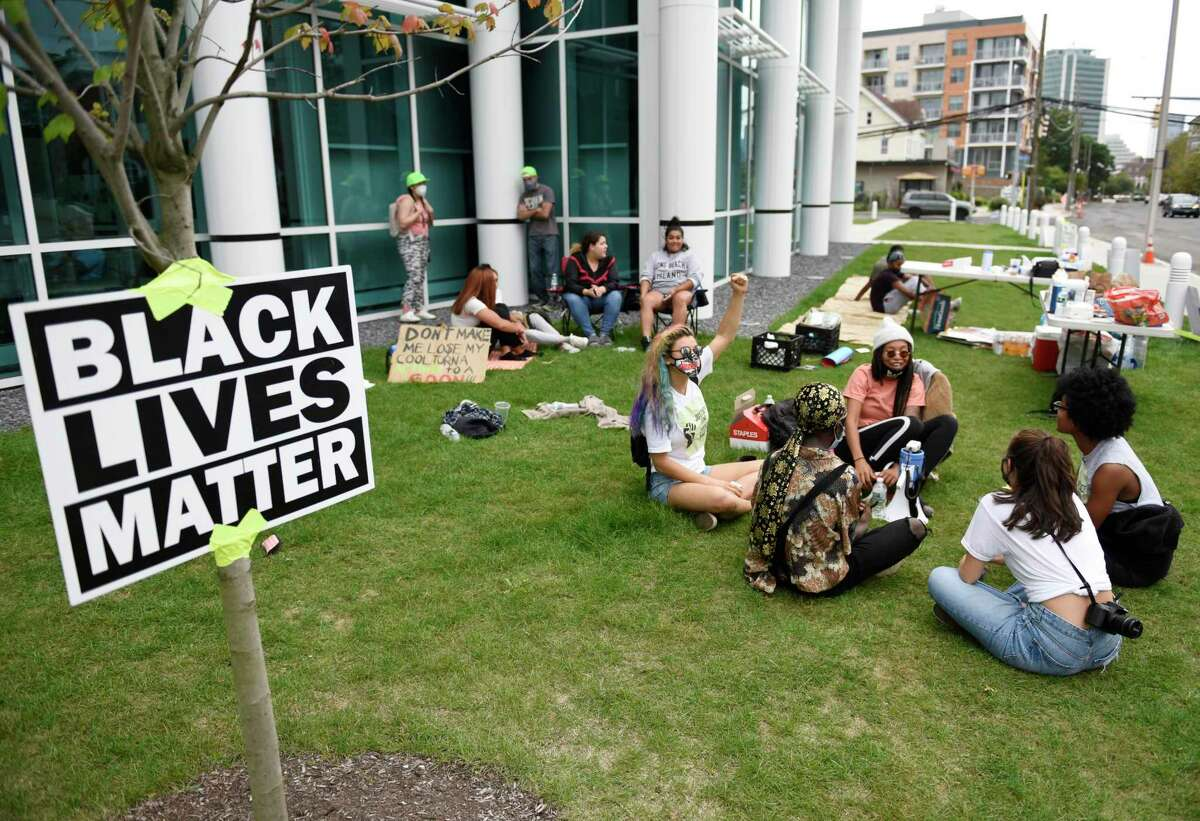 A protest outside the Stamford Police Department last September.