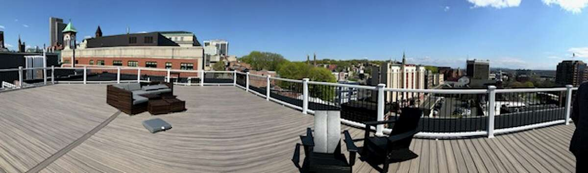 Panoramic view of the rooftop deck overlooking downtown Albany
