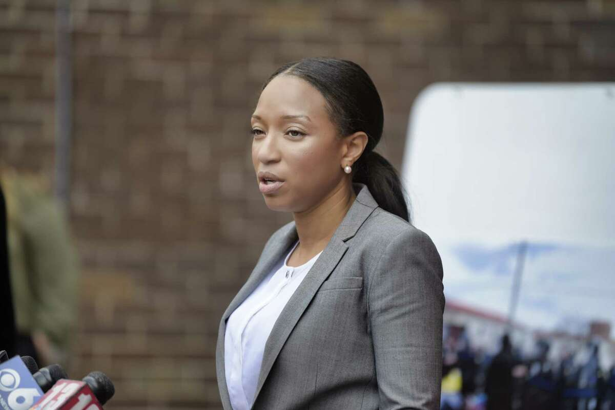 Nairobi Vives, chair of the Albany Community Police Review Board speaks at a press conference on Tuesday, April 27, 2021, in Albany, N.Y. The press conference was held to discuss the police actions on protestors who had been camping outside the South Station. (Paul Buckowski/Times Union)