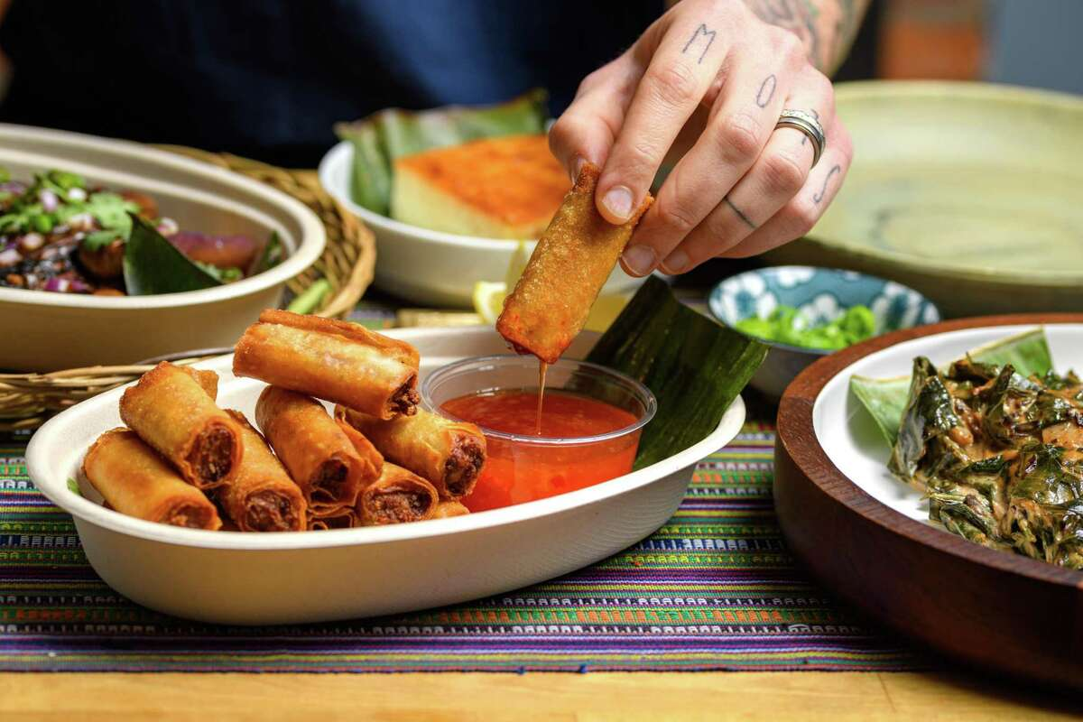 Kawit!'s lumpia, fried spring rolls filled with pork and vegetables.