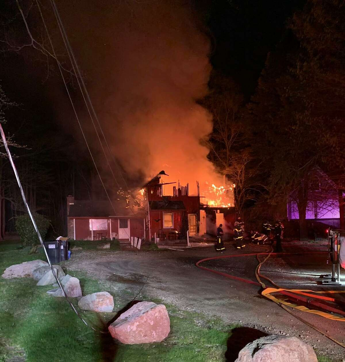 The fire required aid from surrounding towns, including Madison Hose Company, Killingworth Volunteer Fire Department, Old Saybrook Volunteer Fire Department and the Westbrook Fire Department.