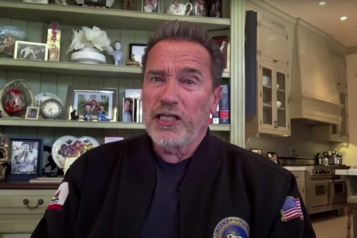 """Arnold Schwarzenegger appears on """"Jimmy Kimmel Live"""" in this file image Monday, April 26, 2021."""
