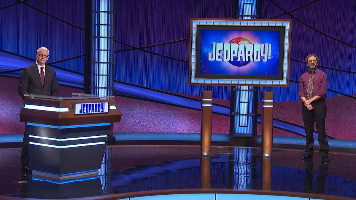 """Uncasville, Conn. resident John Prokop (right) with guest """"Jeopardy!"""" host Anderson Cooper. Prokop will appear on the April 27, 2021 episode of the game show on ABC."""