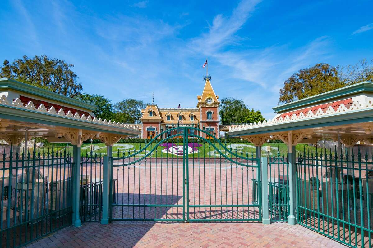 The gates of Disneyland Park, which closed for more than a year because of the COVID-19 pandemic.