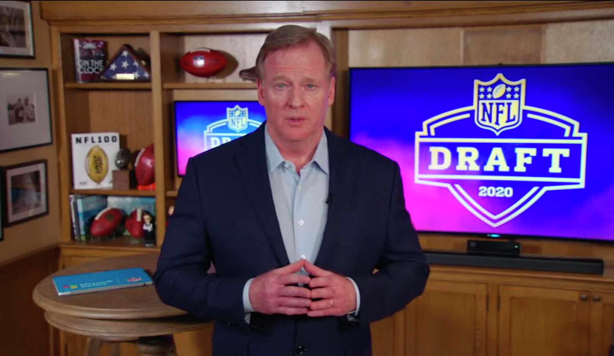 NFL Commissioner Roger Goodell speaks from his home in Bronxville, N.Y., during the first round of the 2020 NFL Draft.