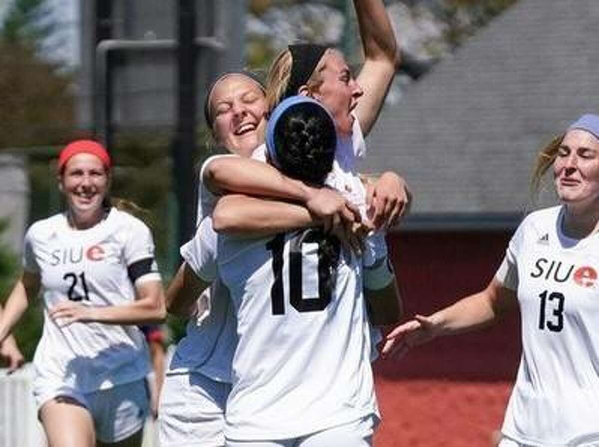 The SIUE Cougars celebrate during their 2-0 win over UT Martin in the OVC Tournament semifinals. SIUE will face Virginia Wednesday in a national tourney first-round game in Carey, N.C. SIUE upset Notre Dame in its last trip to the nationals in 2016.