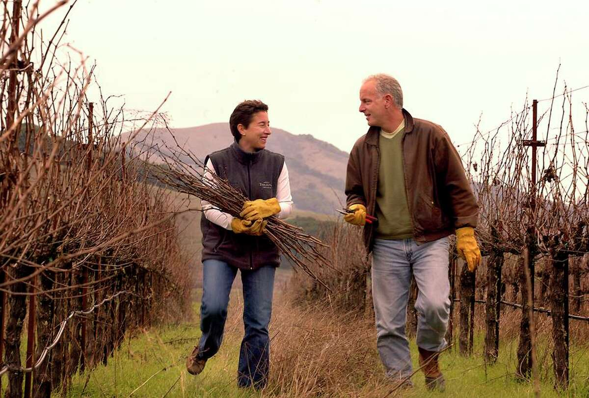 Susan Pey, who died in 2016, and Jonathan Pey of Pey-Marin Vineyards, seen in 2004.