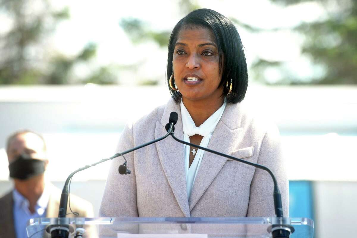U.S. Rep. Jahana Hayes speaks at a news conference at Connecticut's Beardsley Zoo, in Bridgeport, Conn. March 29, 2021. Hayes joined others to announce the deployment FEMA's new COVID-19 mobile vaccination unit, which is set up and running this week in the zoo's parking lot.