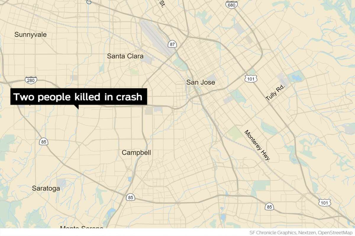 Two people were killed and two others were injured Monday night after a police pursuit in San Jose ended in a deadly crash, authorities said.