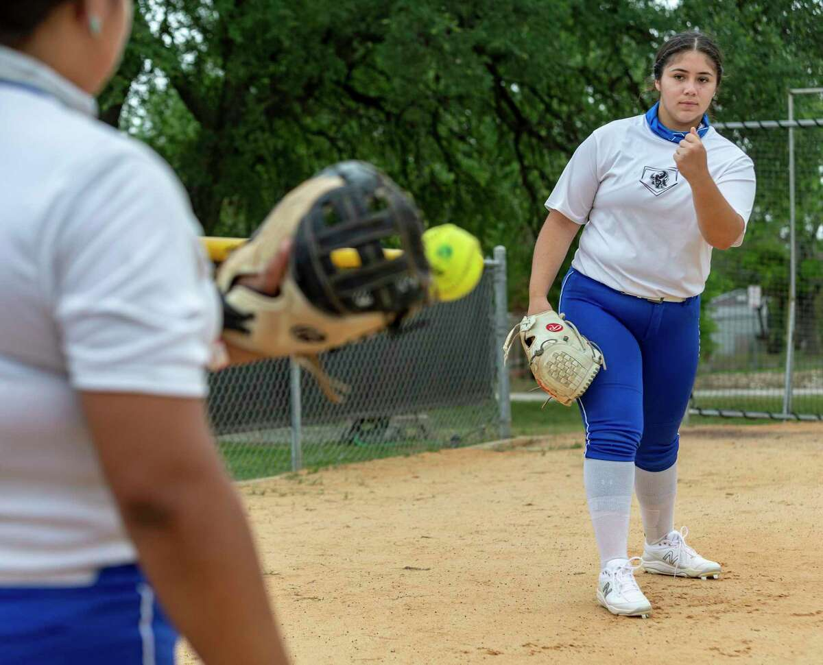 MacArthur pitcher Madison Collins practices Monday, April 26, 2021 at McArthur High School. Collins leads the area in strikeouts.