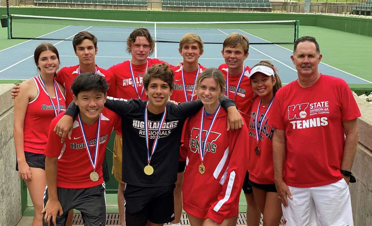 The Woodlands' state qualifiers pose for a photo after the Region II-6A championships in Waco on April 27, 2021. The Highlanders had seven state qualifiers and two state alternates.