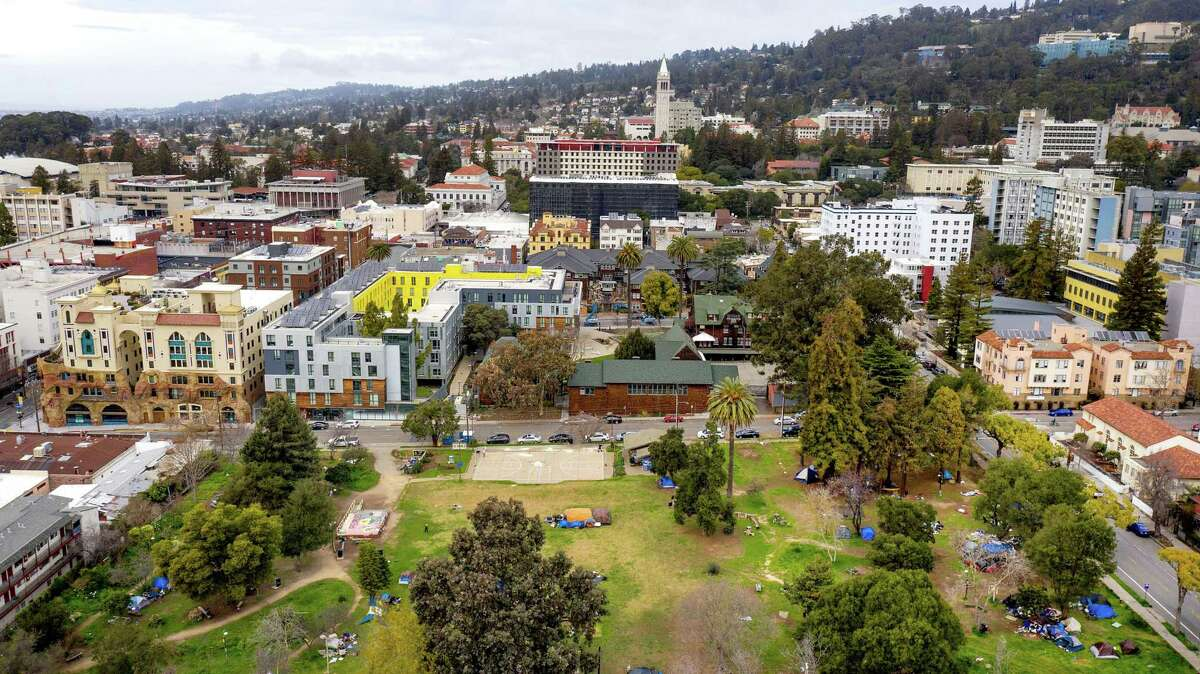 People's Park is pictured with UC Berkeley's campus in the background. Students are rallying and camping in the park to protest UC Berkeley's plan to develop the property as student housing.