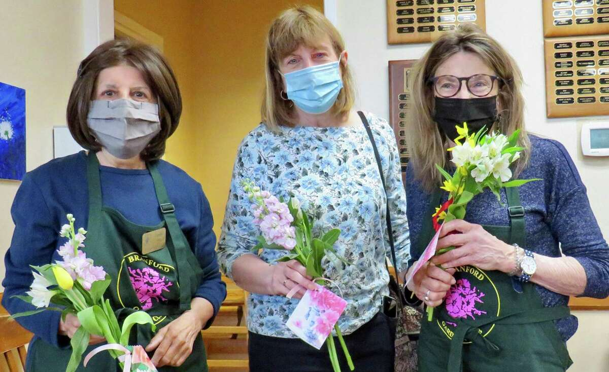 Denise Isaacs, Anna Mercurio and Mary Jo Riddle of the Branford Garden Club's garden therapy committee