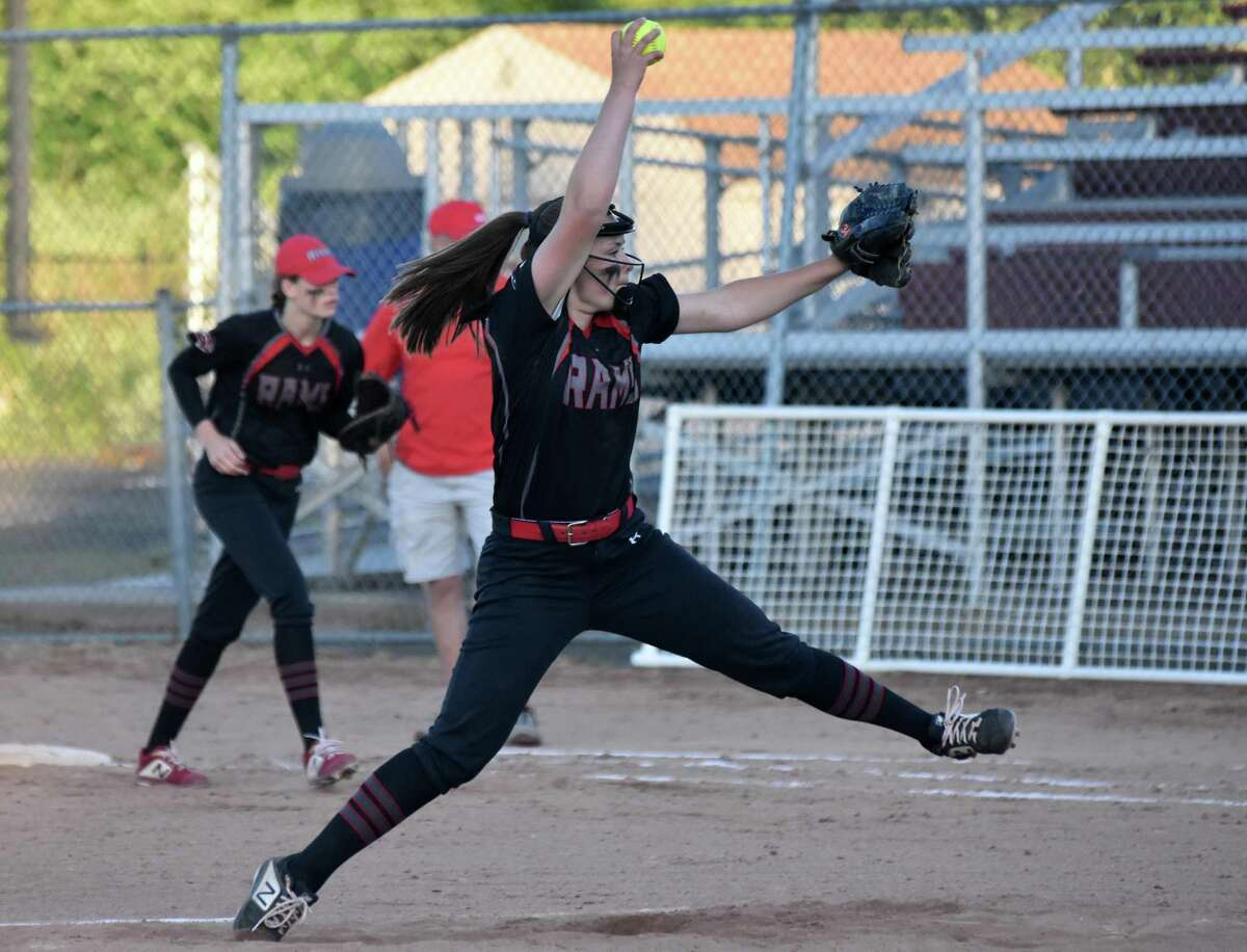 Cheshire's Bri Pearson pitches in the Class LL semifinals at DeLuca Field in Stratford in 2019.