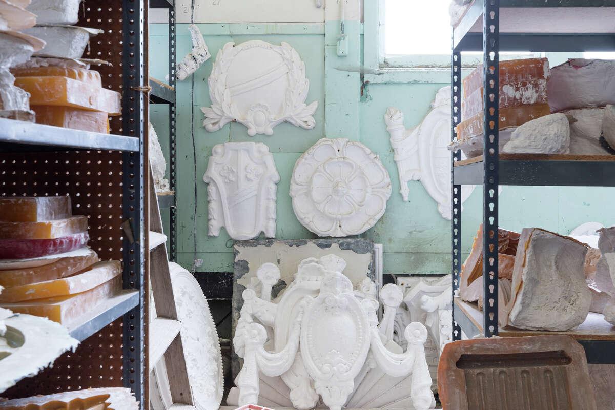 Lorna Kollmeyer decorative plaster in the Hunter's Point Shipyard.