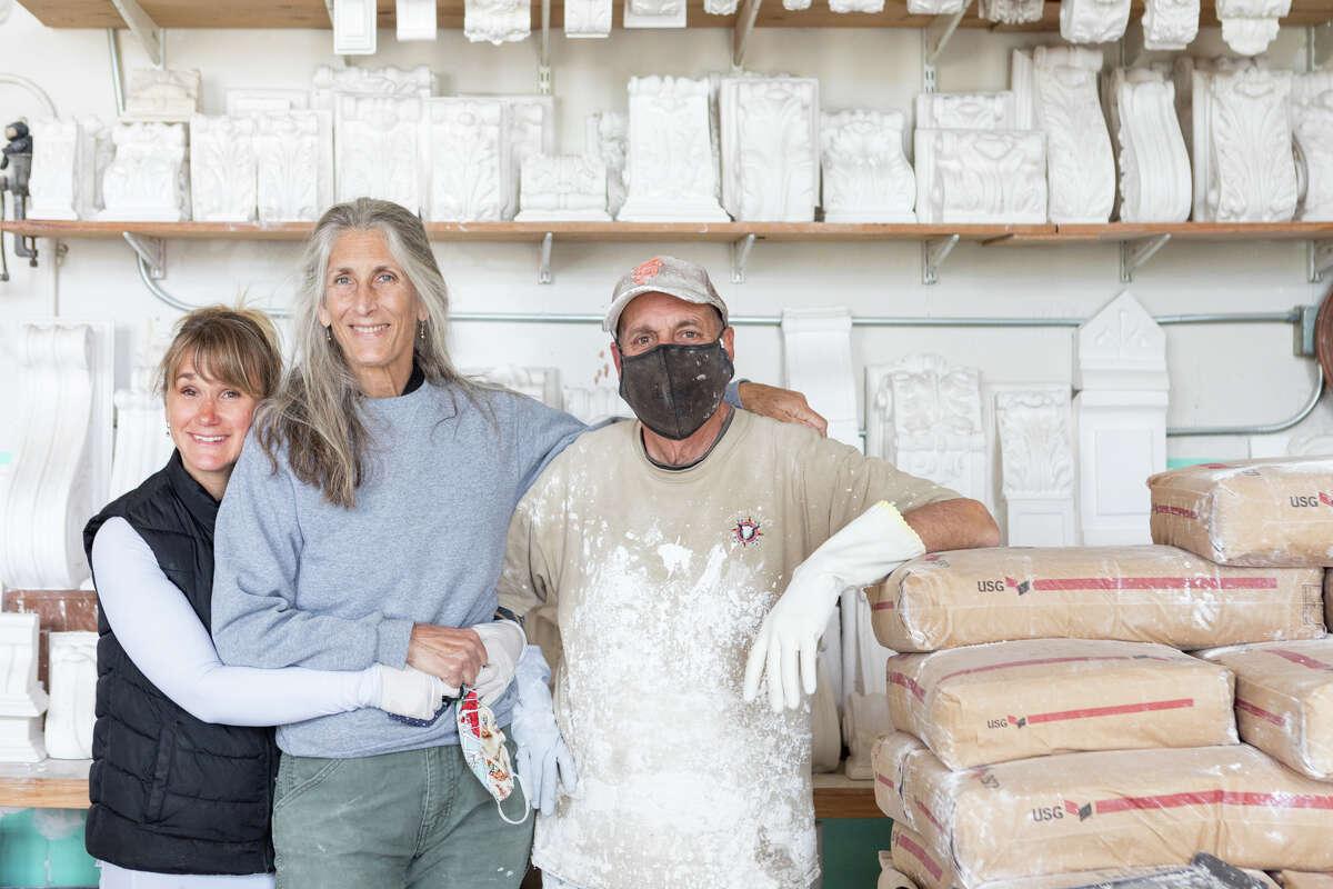 Amy Firman, Lorna Kollmeyer and Mike Dyar from Lorna Kollmeyer Zierputz in the Hunter's Point Shipyard.