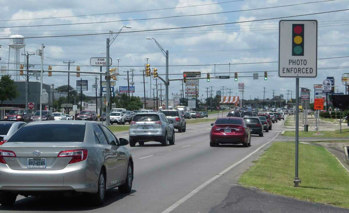Leon Valley, near San Antonio, began operating red light cameras at five intersections, shown on Feb. 21, 2018.
