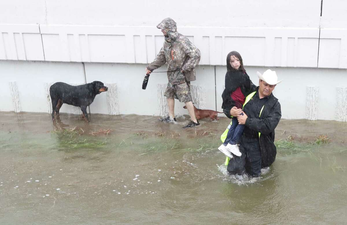 Harris County Sheriff Ed Gonzalez and his deputies perform rescues in Houston Monday, August 28, 2017.