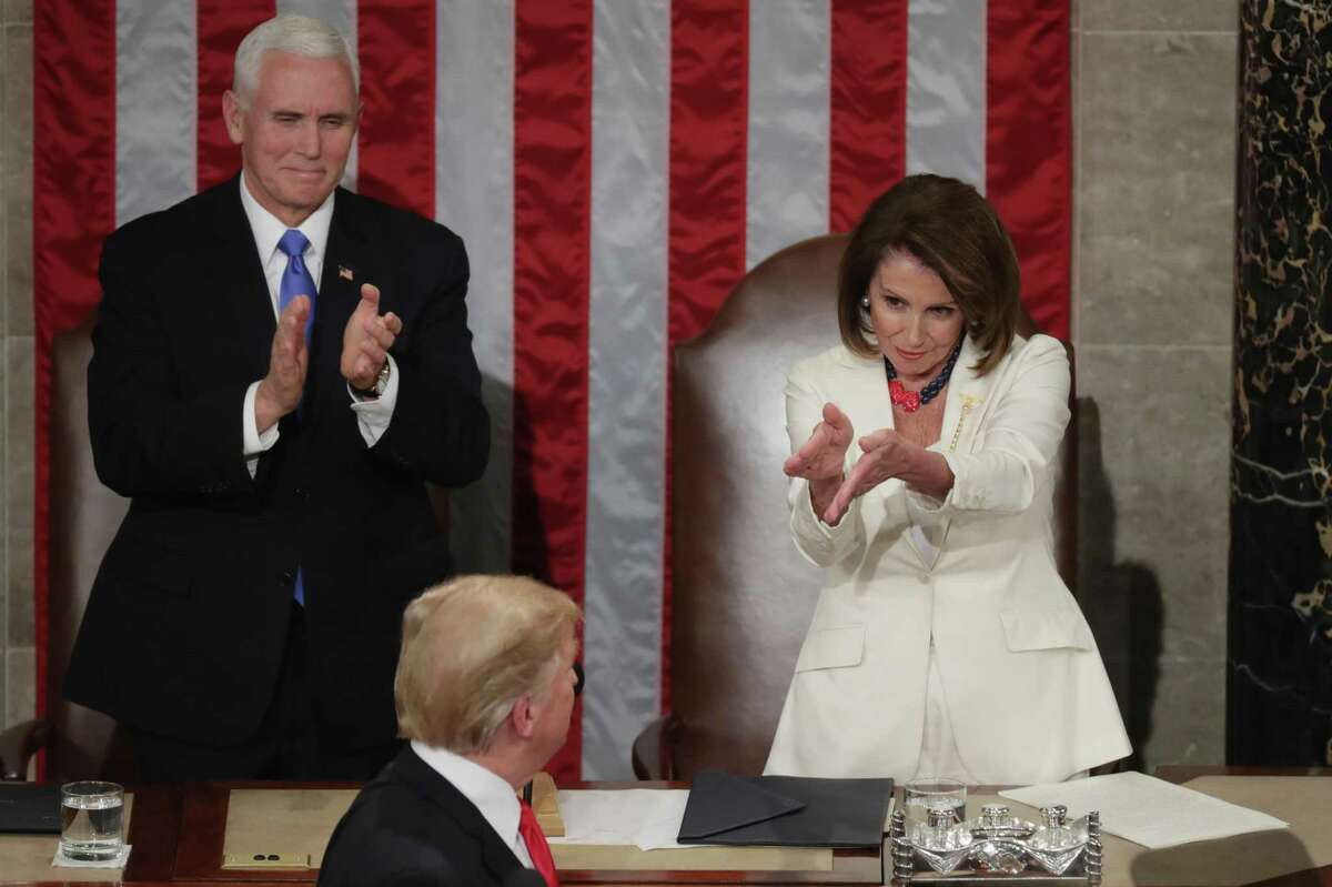 House Speaker Nancy Pelosi, dressed all in white in a nod to women's suffrage, upstaged President Donald Trump with a sarcastic clap in his direction before his State of the Union speech in 2019.