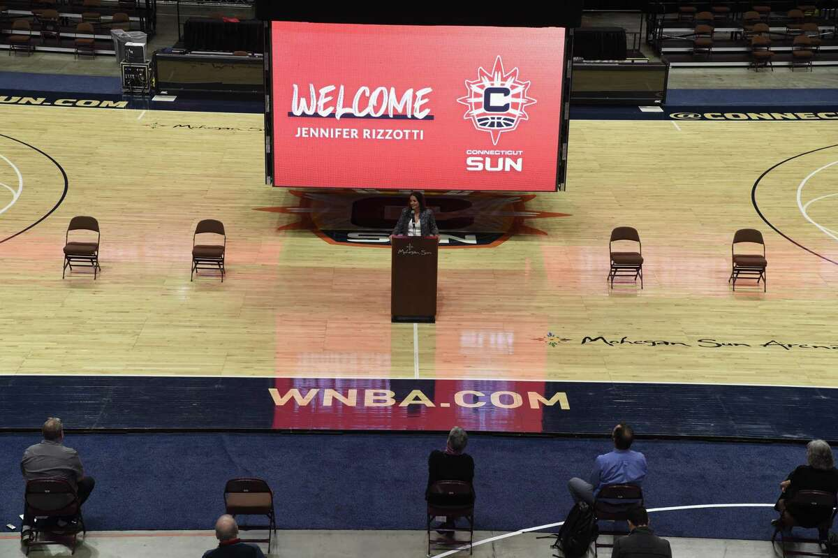 Jennifer Rizzotti was introduced as president of the WNBA's Connecticut Sun on Tuesday, April 27, 2021 at Mohegan Sun Arena in Uncasville, Conn. The New Fairfield native was a national championship winner at UConn.