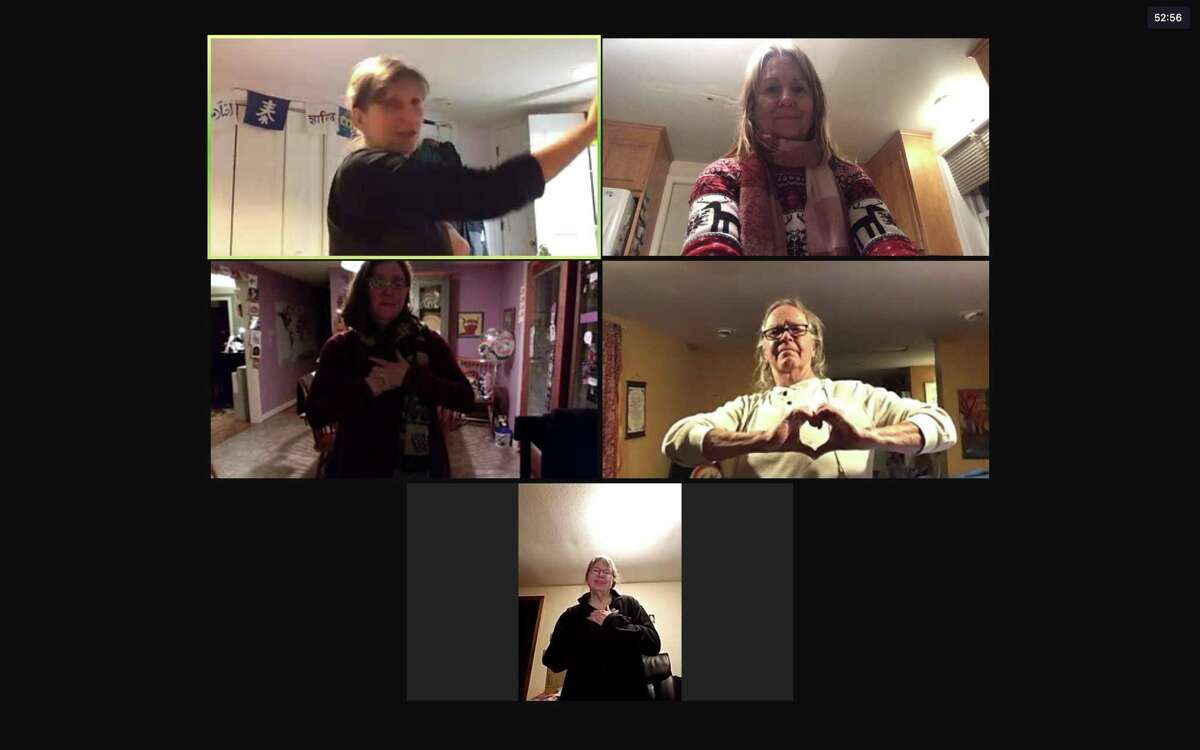 A laughter yoga class on Zoom, presented by the Buttonwood Tree in Middletown.