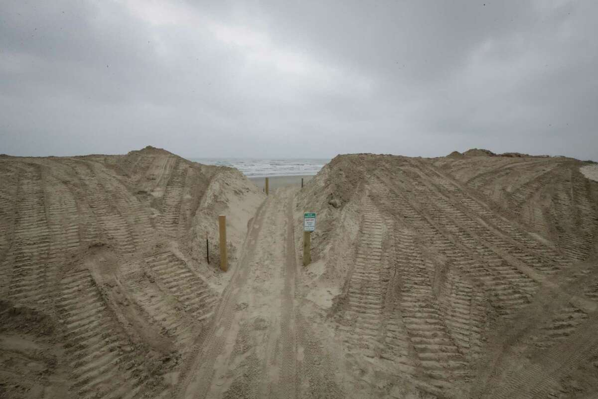 Dune rebuilding efforts are seen Tuesday, April 27, 2021, in Treasure Island at San Luis Pass. Scientists are looking for sand in the Gulf to use for future projects to protect against erosion along the Texas coast.