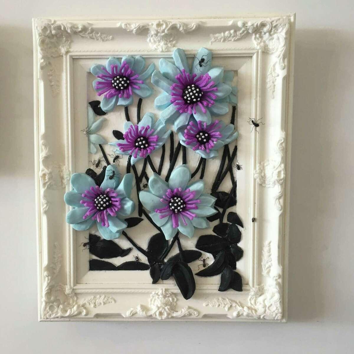 Jeanne Silverthorne (b. 1950), Purple Fluorescent, 2013 Platinum silicone rubber, fluorescent pigment, wire, 24 ¼ x 20 ½ x 5 in.