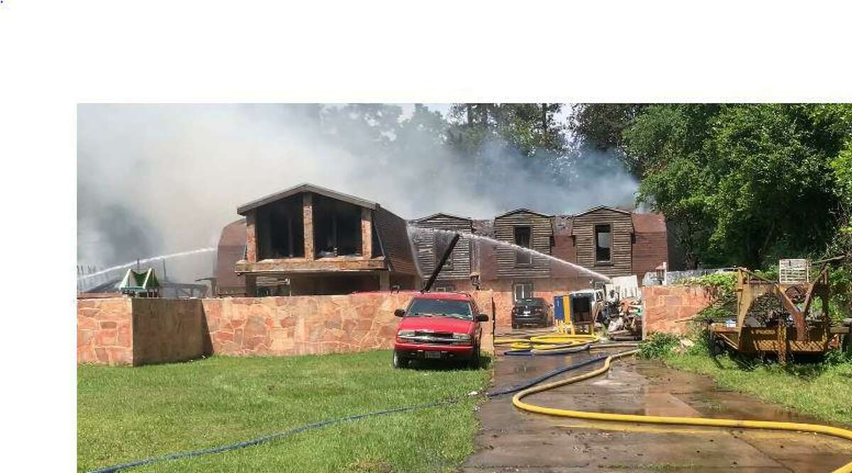 Water was pumped at two buildings Monday afternoon on the 2100 block of Old Ox Road following a fire.
