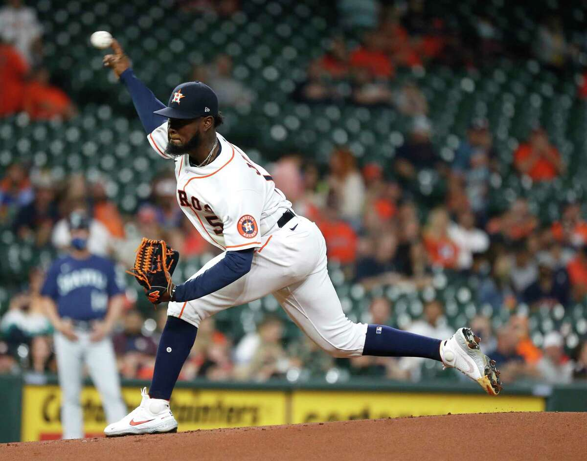 Houston Astros starting pitcher Cristian Javier (53) pitches during the first inning of an MLB baseball game at Minute Maid Park, Tuesday, April 27, 2021, in Houston.