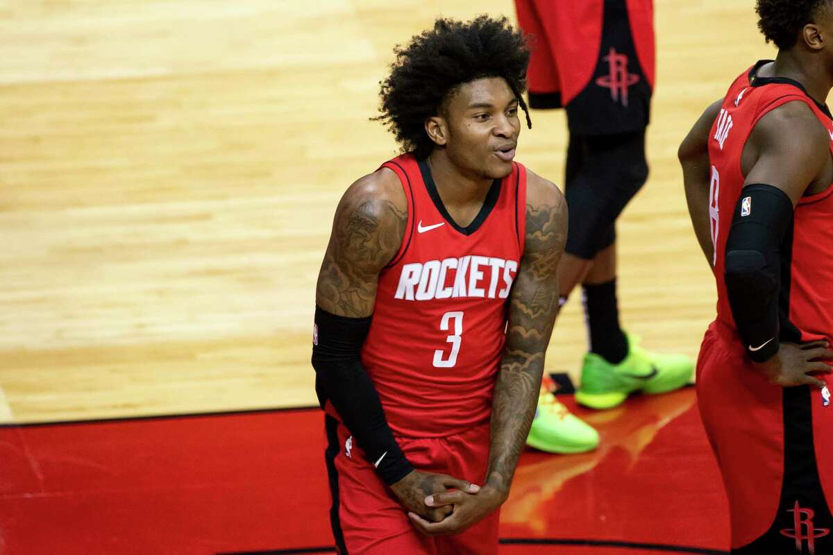 Houston Rockets guard Kevin Porter Jr. (3) reacts to a foul call during the first quarter of an NBA game between the Houston Rockets and Minnesota Timberwolves on Tuesday, April 27, 2021, at Toyota Center in Houston.