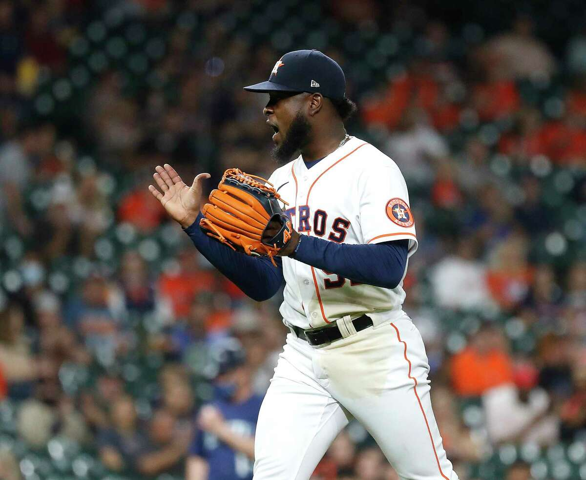 Houston Astros starting pitcher Cristian Javier (53) reacts after striking out Seattle Mariners Sam Haggerty to end the seventh inning of an MLB baseball game at Minute Maid Park, Tuesday, April 27, 2021, in Houston.