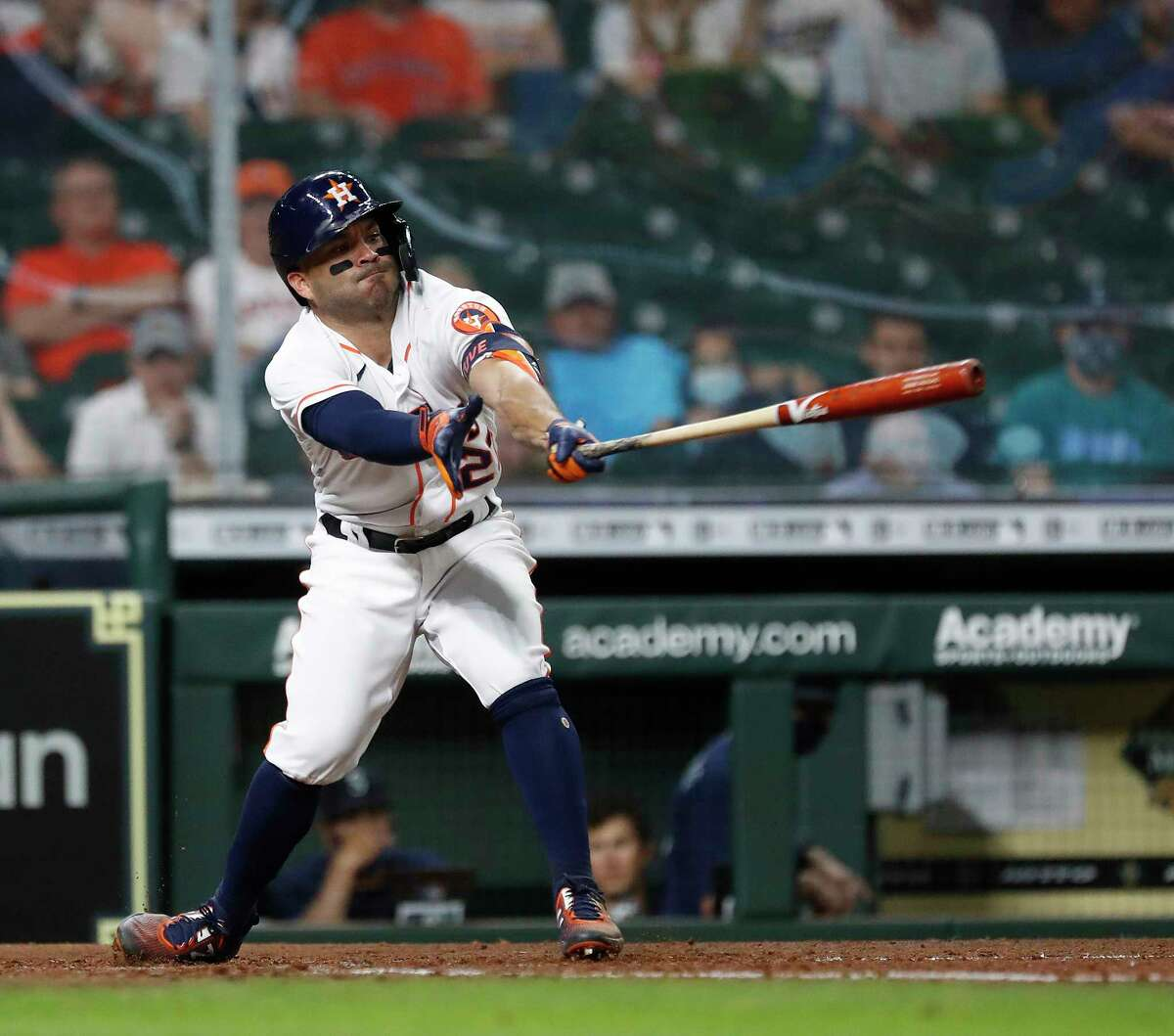 Houston Astros Jose Altuve (27) strikes out against Seattle Mariners relief pitcher Kendall Graveman during the seventh inning of an MLB baseball game at Minute Maid Park, Tuesday, April 27, 2021, in Houston.