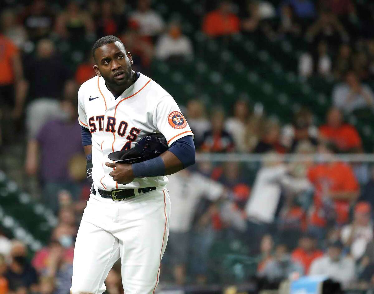 Houston Astros Yordan Alvarez (44) after the eighth inning of an MLB baseball game at Minute Maid Park, Tuesday, April 27, 2021, in Houston.