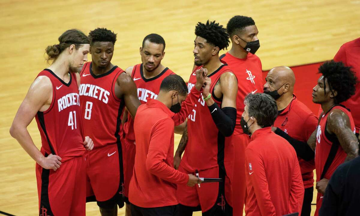 The Rockets offense huddles during a timeout during the fourth quarter of an NBA game between the Houston Rockets and Minnesota Timberwolves on Tuesday, April 27, 2021, at Toyota Center in Houston.