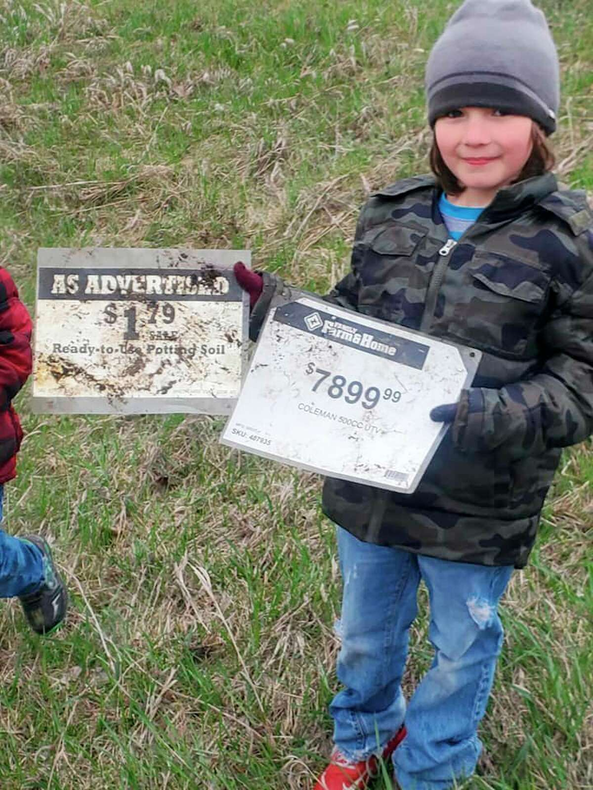 As a birthday present, seven year-old Addison Thorstenson, of Reed City, enlisted the help of her family for a recent trash pickup. (Courtesy photo)
