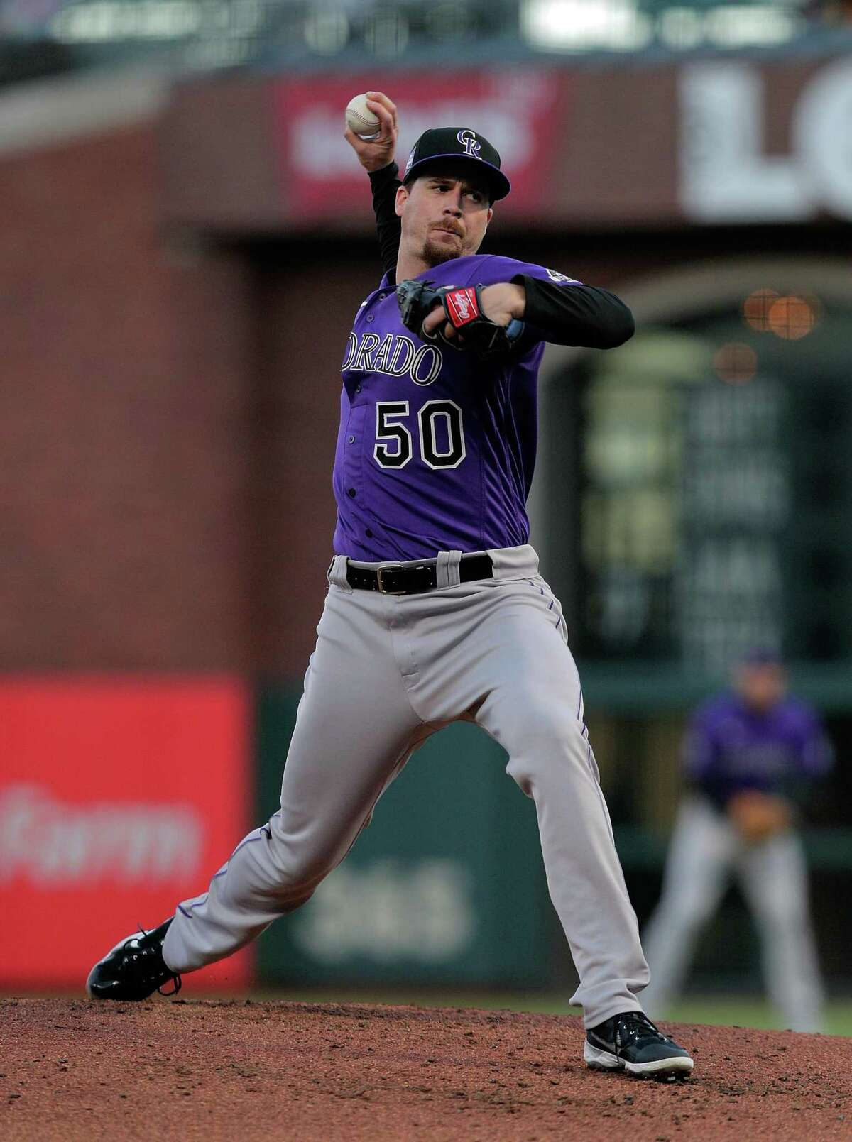 Rockies pitcher Chi Chi Gonzalez (50) pitches in the second inning as the San Francisco Giants played the Colorado Rockies at Oracle Park in San Francisco Calif., on Tuesday, April 27, 2021.