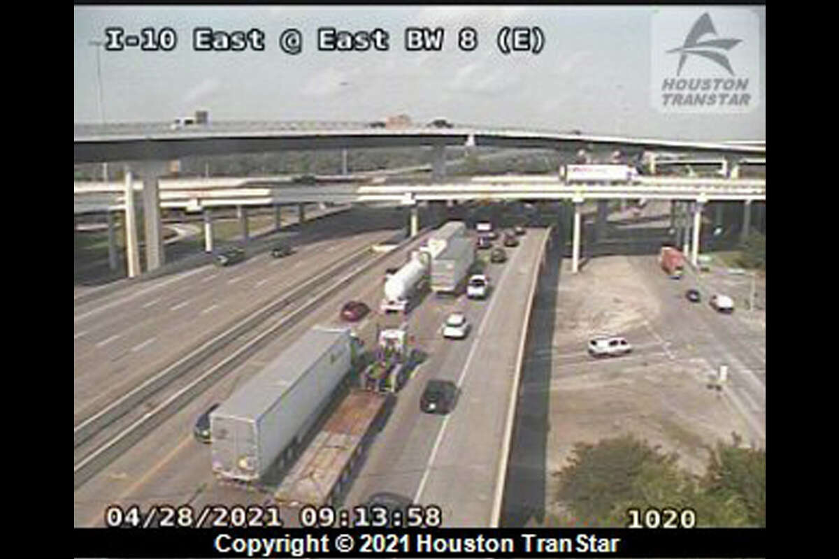 A loose cow is holding up traffic on the main lanes of I-10, according to authorities.