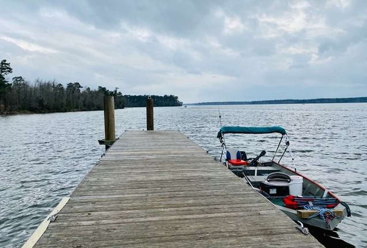 A view of Lake Conroe from the Cagle Rec Center Boat Dock showing an excellent water supply source and recreation area when it is at pool.