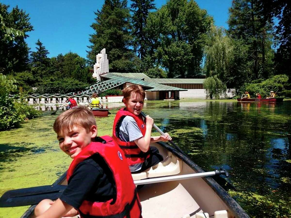 Canoe trips around the pond by the Alden B. Dow Home and Studio are a favorite summer camp activity. (Photo provided/Alden B. Dow Home and Studio)