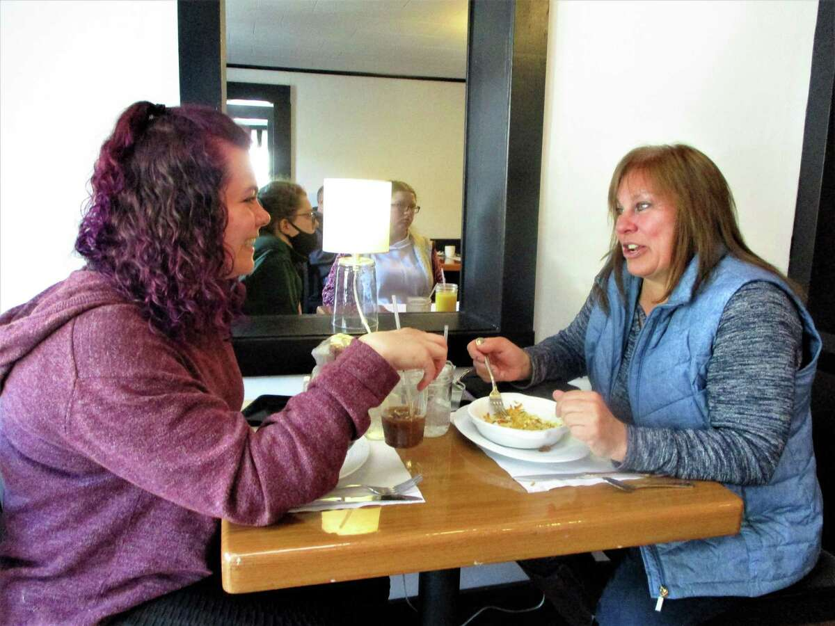 Maggie and Sheri Gillotte of Winchester Center having breakfast at the newly opened Railway Café.