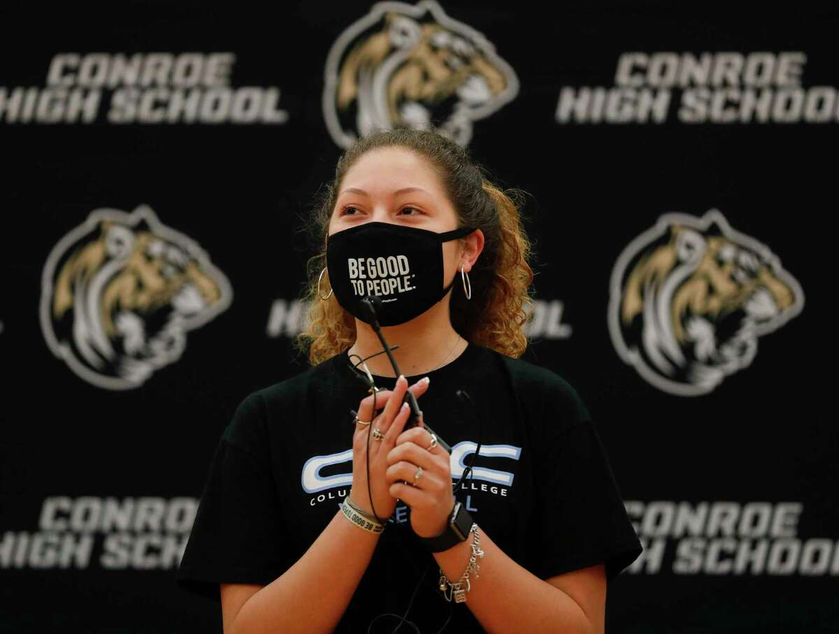 Amanda Rivera speaks to her teammates after signing to play volleyball for Columbia Basin during an athletic signing ceremony at Conroe High School, Wednesday, April 28, 2021, in Conroe. Rivera signed to play volleyball for Columbia Basin College.