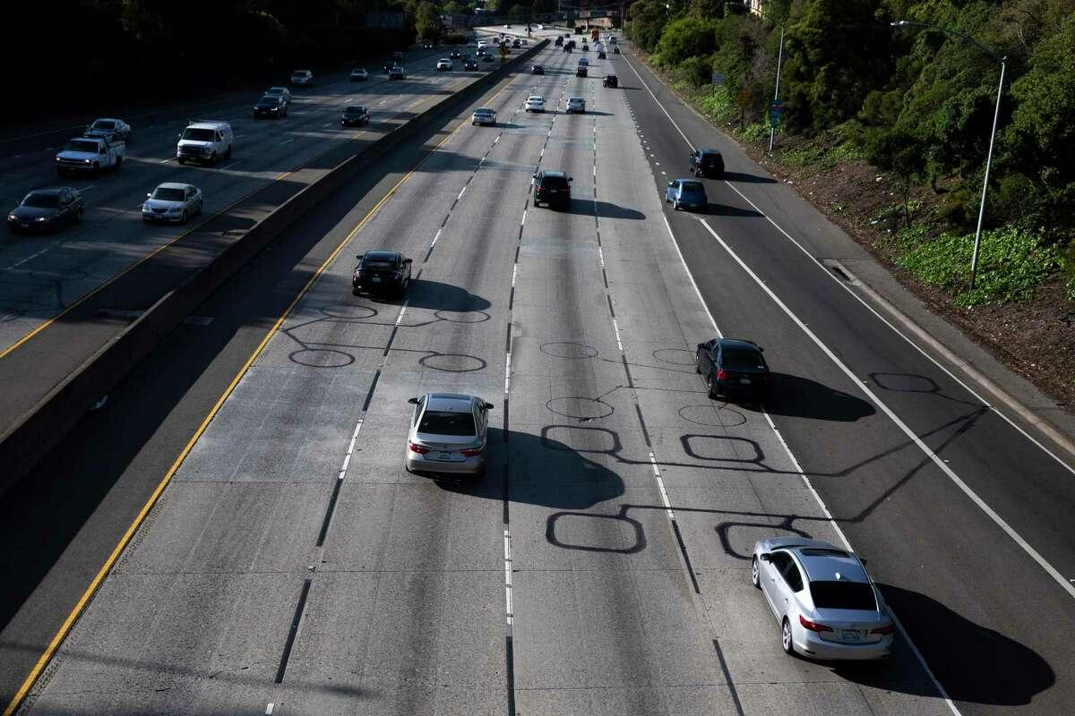 Interstate 580 is nearly empty near Harrison Street in Oakland in April.