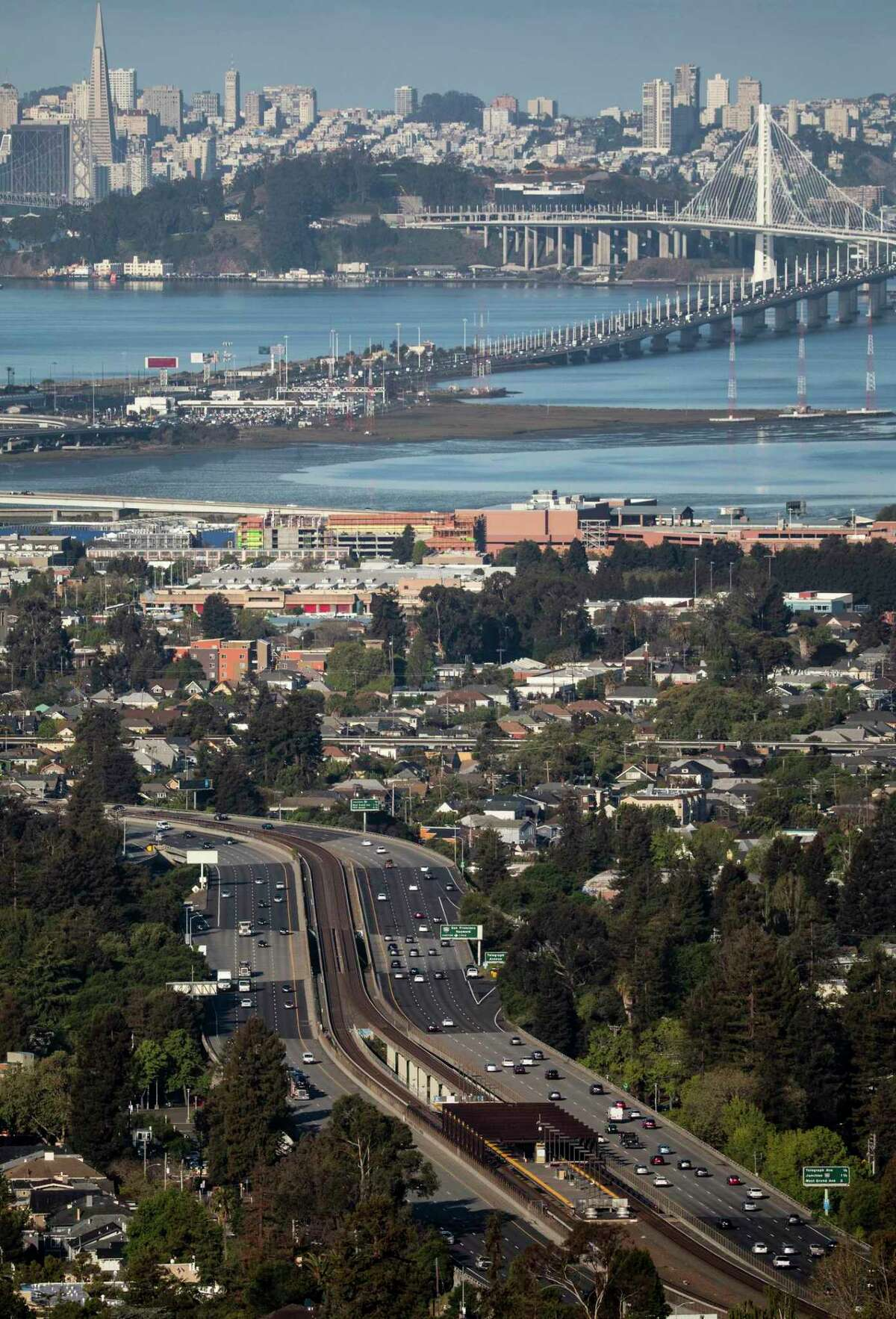 Cars move comfortably along Highway 24 in Oakland in April. Caltrans data for the Bay Area's nine counties shows that while traffic volume has rebounded to near pre-pandemic levels, actual congestion on freeways still remains lower than what it was before the pandemic.