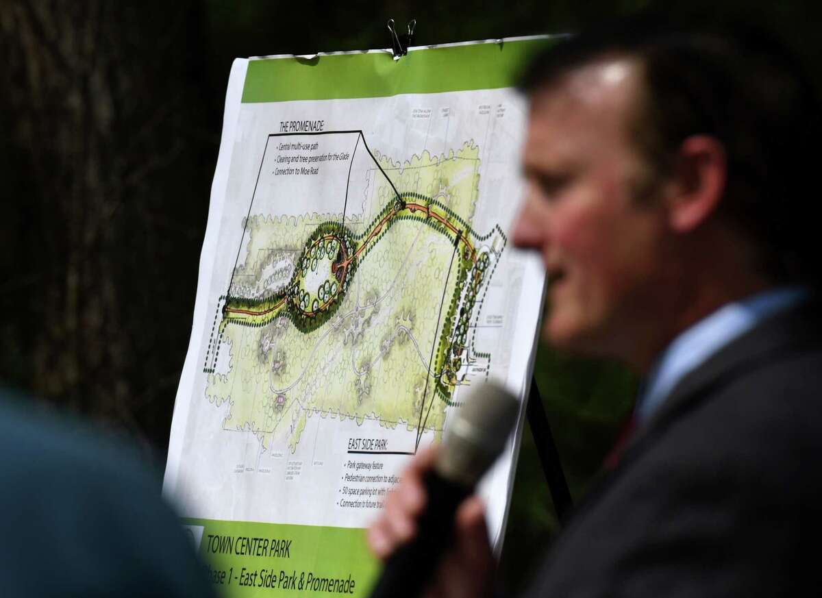 A park map is displayed during an press conference where Clifton Park officials including Supervisor Phil Barrett announced plans for a new 37 acres park off Maxwell Drive on Wednesday, April 28, 2021, in Clifton Park, N.Y. The planned recreational space will include trails connecting to Moe Road and a parking lot for 50 cars. (Will Waldron/Times Union)