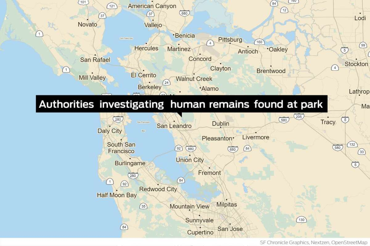 East Bay authorities on Wednesday said they were investigating and working to identify the human remains found this week at Lake Chabot Regional Park.